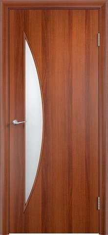 Дверь Дверная Линия ДО-06 Луна, стекло снег, цвет итальянский орех, остекленная