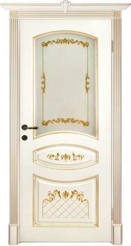 Дверь Prestigio Кариньяно-2, стекло бронза фотопечать, цвет  слоновая кость/патина золото, остекленная