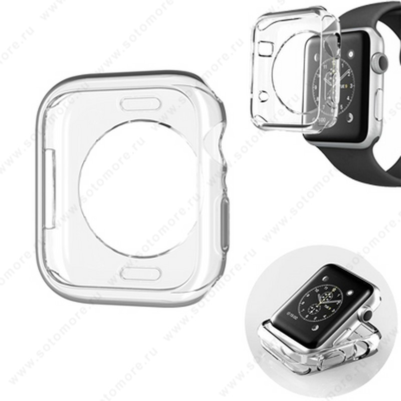 Накладка силиконовая для Apple Watch 44 mm прозрачная