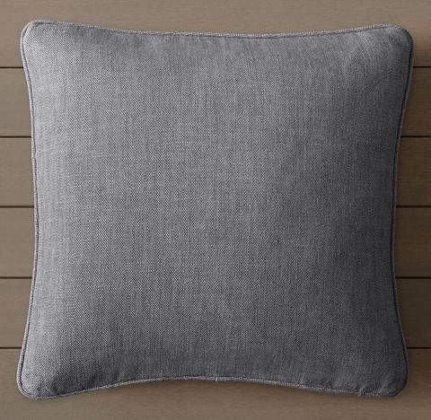 Custom Perennials® Textured Linen Solid Piped Square Pillow Cover