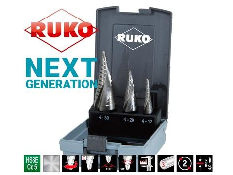 Набор ступенчатых сверл Ruko HSSE-Co5 4-12/4-20/4-30 3шт 101026ERO