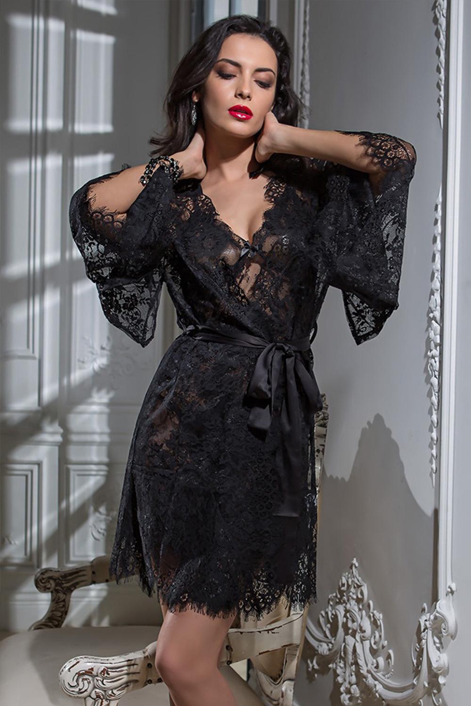 Черный кружевной халат-кимоно (Короткие халаты)