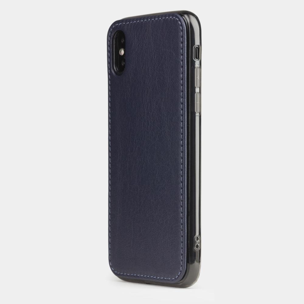 Чехол-накладка для iPhone X/XS из натуральной кожи теленка, цвета индиго