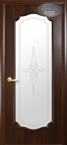 Дверь Рокка ДО (каштан, остекленная ПВХ), фабрика Новый Стиль