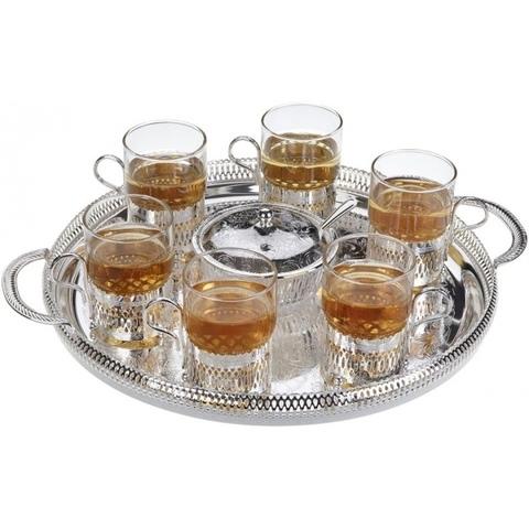 Набор чайный 6/9 (поднос, сахарница, ложка, 6 стаканов с подстаканниками)