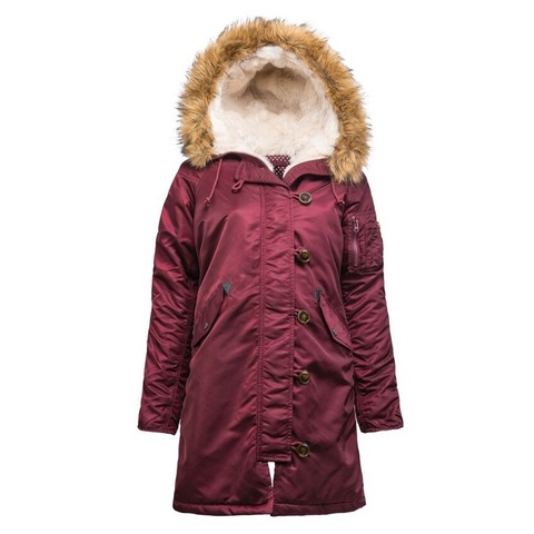 Парка Alpha Industries Elyse Maroon с натуральным мехом (бордовая)