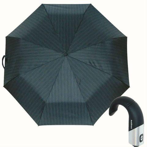 Купить серый полосатый зонт с ручкой крюк Baldinini