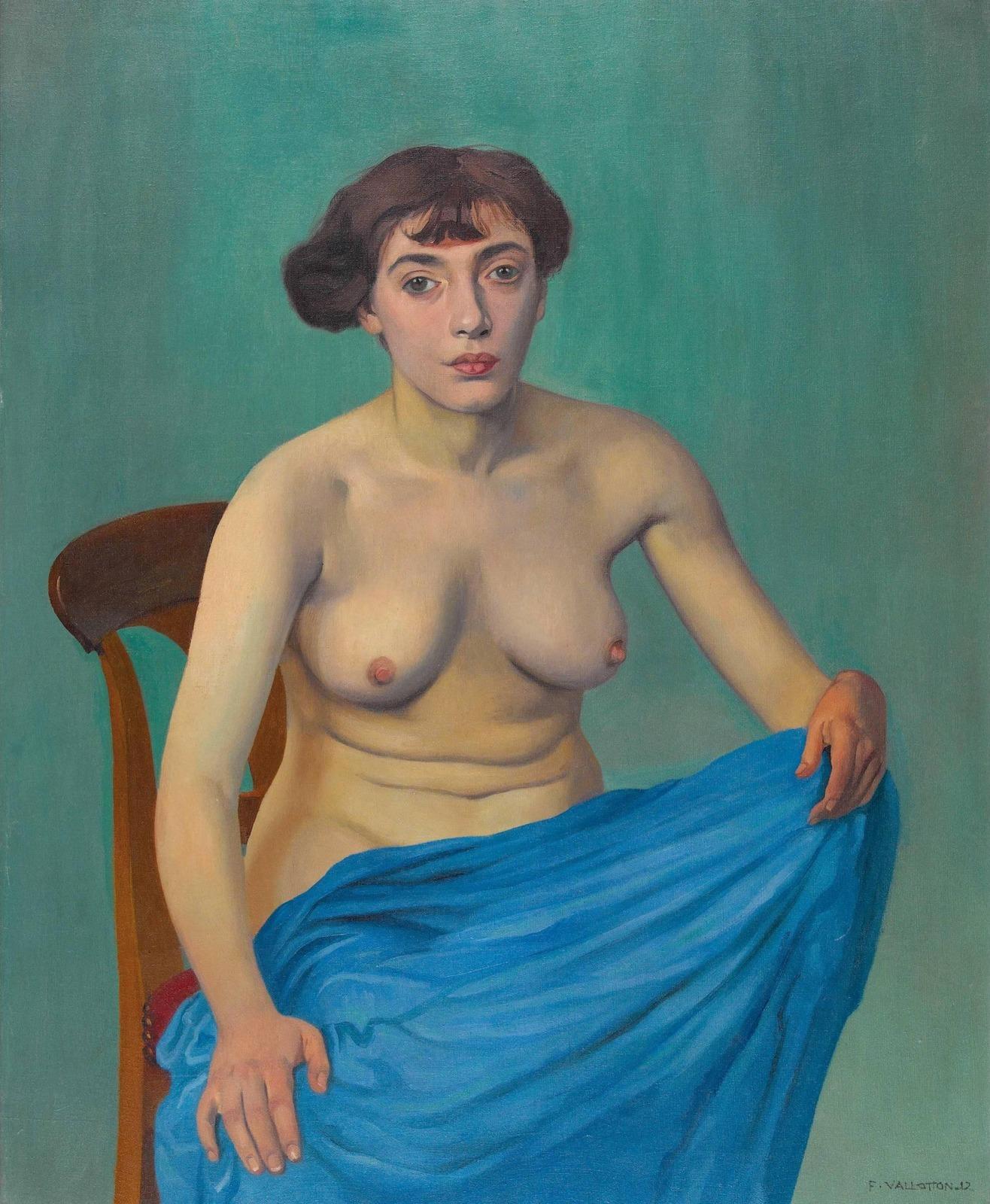 Феликс Валлеттон. 1912. Обнаженная с синей драпировкой (Torse a l'etoffe bleue). 100 х 81.5. Холст, масло. Частное собрание.