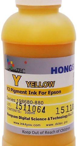 Чернила пигментные DCTec 7880P/200 -  UltraChrome Epson 7880/9880 yellow (желтый) 200 мл. Серия 198680-880
