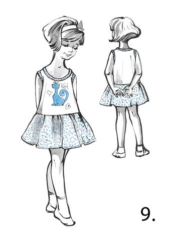 Детское платье без рукавов с отрезной юбкой-оборкой