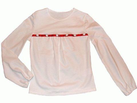 0135 Блузка для девочки трикотажная белая