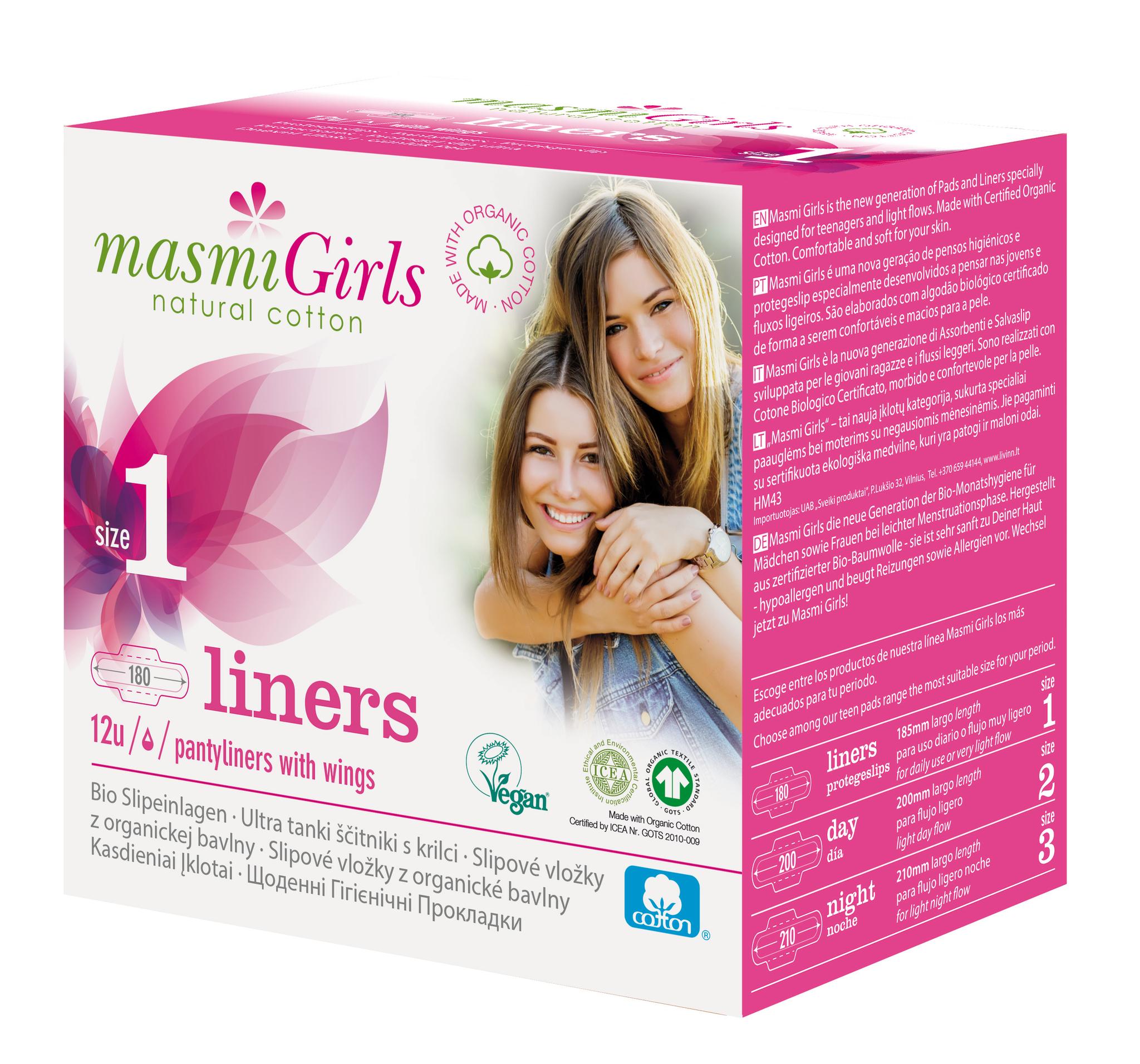 Прокладки ежедневные гигиенические ультратонкие с крылышками Masmi Girls (для подростков 180mm) из органического хлопка  в индивидуальной упаковке 12шт MASMI NATURAL COTTON