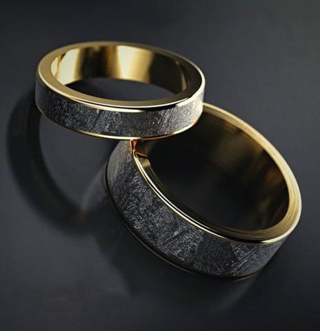 Обручальные кольца из золота и метеорита Муонионалуста(Швеция)
