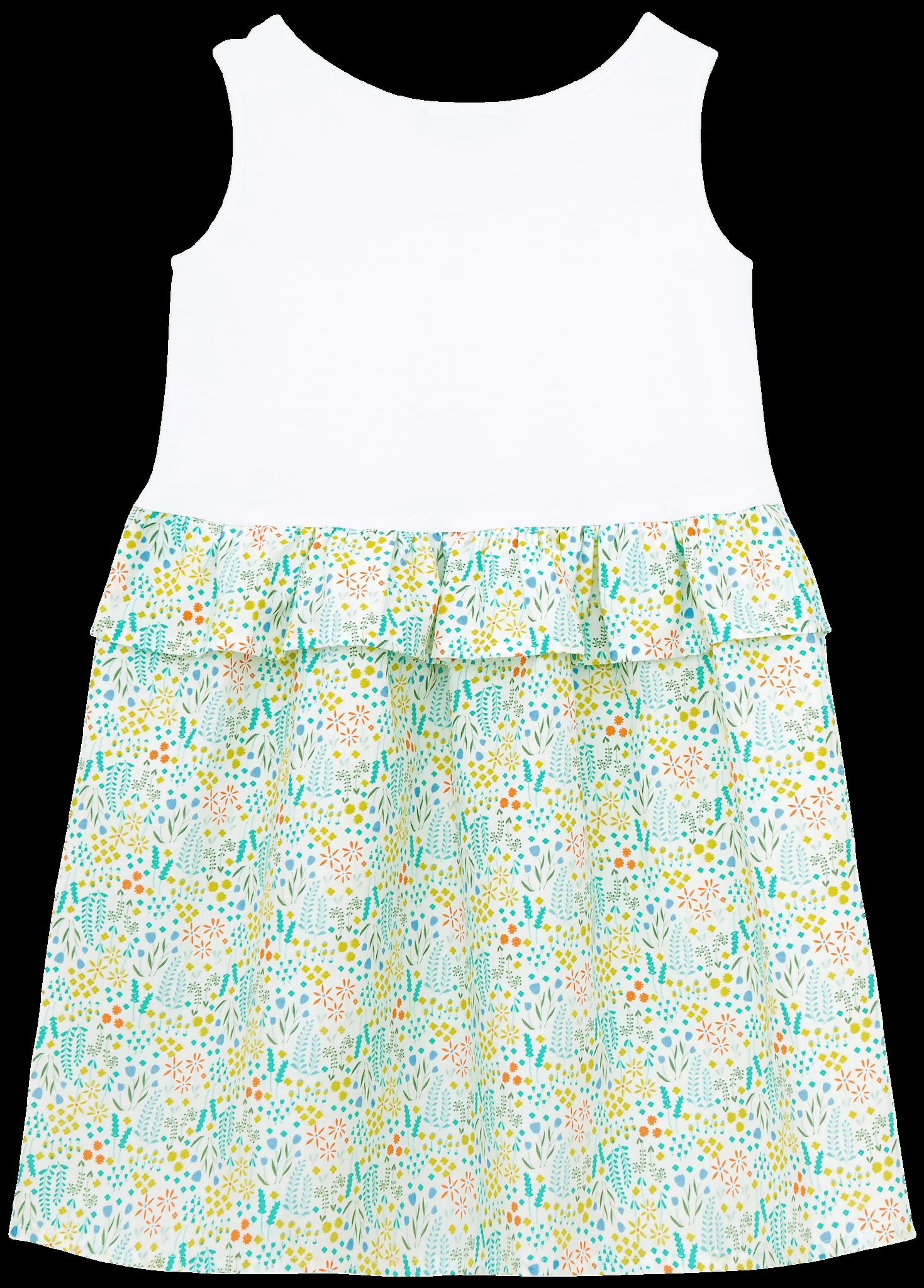 Платье комбинированное с зеленым принтом