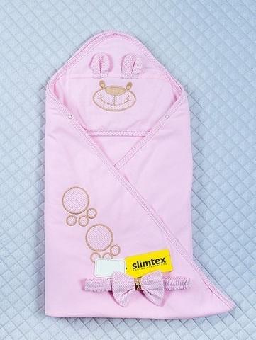 Летний конверт одеяло на выписку из роддома Мишутка розовый