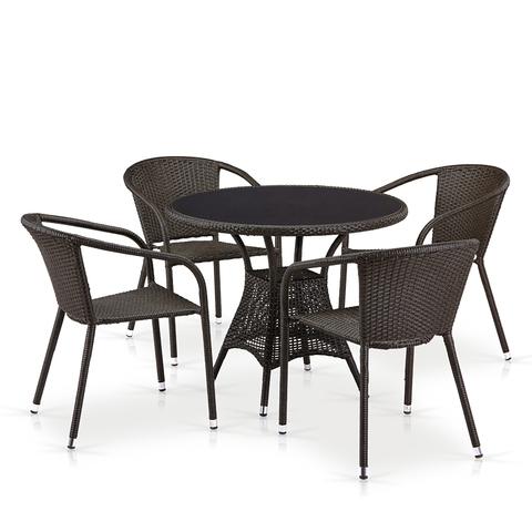 Обеденный комплект из искусственного ротанга с круглым столом со стеклом
