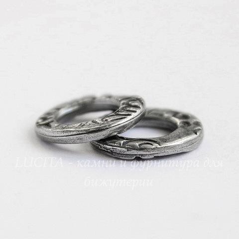 """Коннектор круглый TierraCast """"Жардин"""" 13х12 мм (цвет-античное серебро)"""