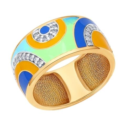 Кольцо из золочёного серебра с эмалью арт.93010562