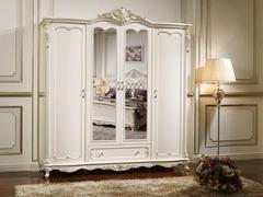 Шкаф 4-дверный с зеркалами Глория (FF6093 MK-2707-WG) Молочный с золотом