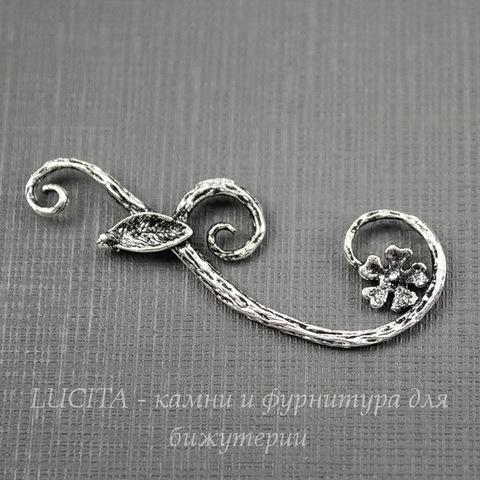 """Подвеска """"Веточка с цветком"""" 39х14 мм (цвет - античное серебро)"""