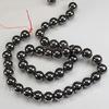 Бусина Гематит немагнитный шарик, цвет - глянцевый черный, 10 мм, нить
