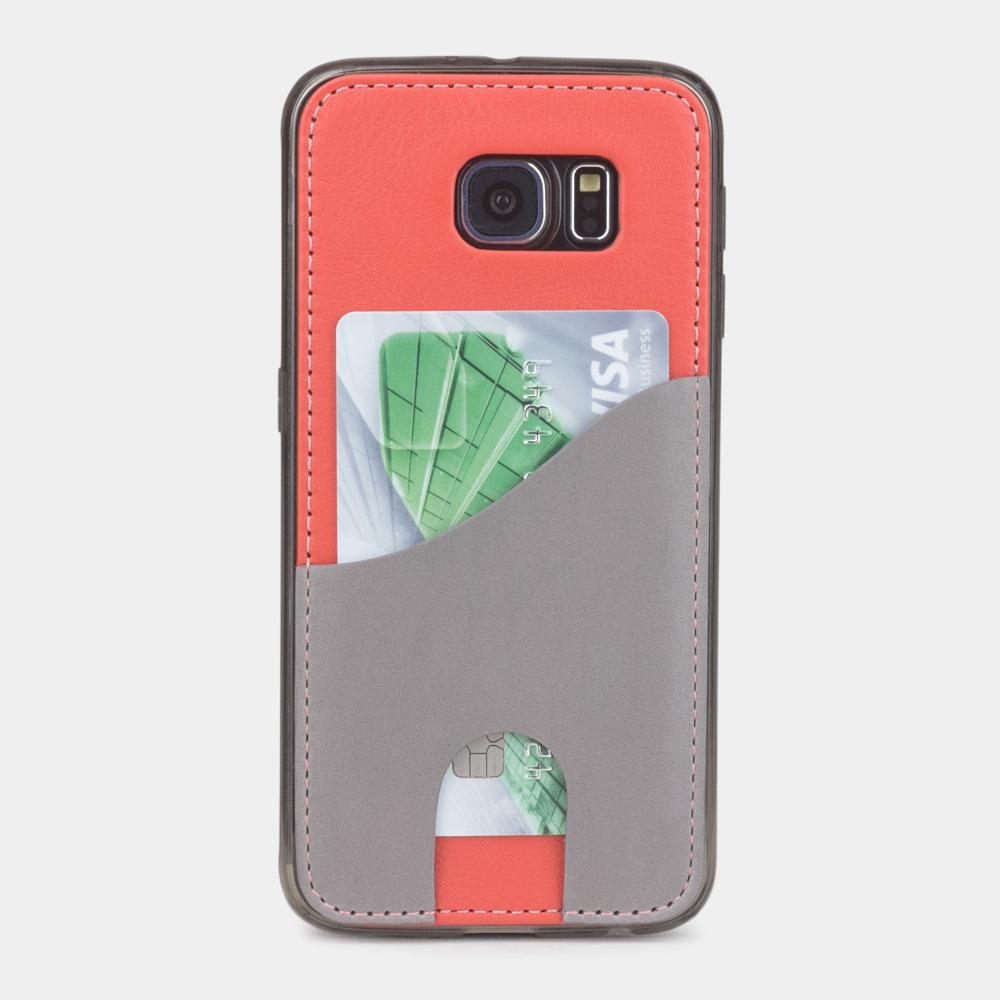 Чехол-накладка Andre для Samsung S6 из натуральной кожи теленка, кораллового цвета