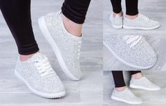 """Обувь женская 3003 Кеды """"130 - Блестящие"""" Белые"""