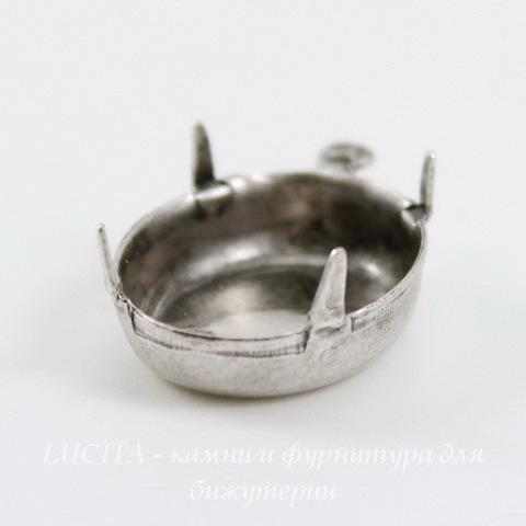 Сеттинг - основа - подвеска для страза 18х13 мм (оксид серебра)