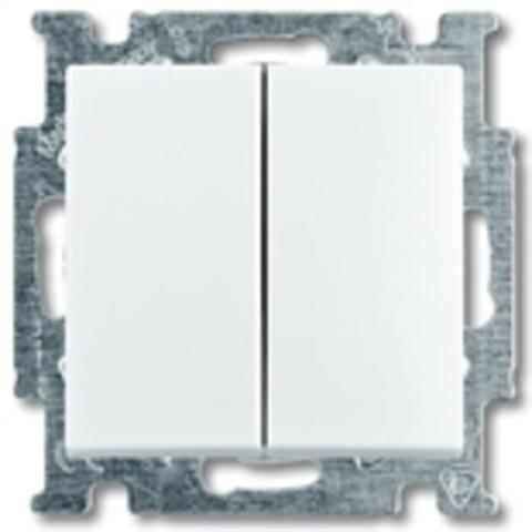 Выключатель двухклавишный. Цвет белый. ABB Basic 55. 1012-0-2141