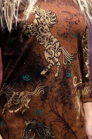 Женский пуловер Horse Filigree Cactus Bay. Made in USA