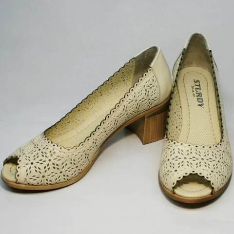 Летние туфли с открытым носком. Закрытые босоножки бежевые туфли на устойчивом каблуке Sturdy Shoes LB