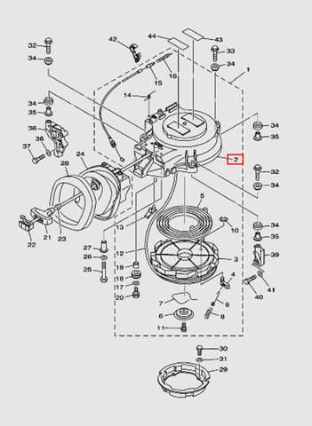 Корпус ручного стартера для лодочного мотора T40 Sea-PRO (7-2)