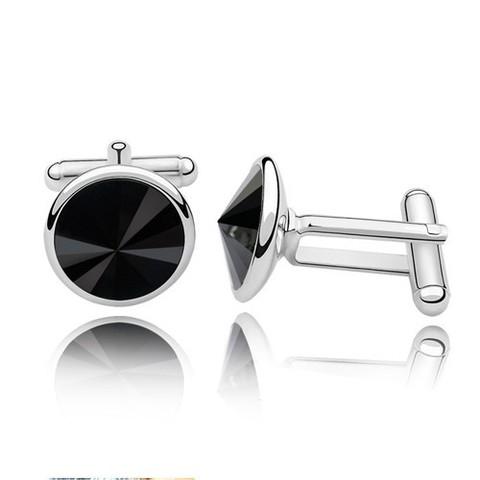 Стильные мужские запонки с чёрными кристалами Сваровски Steelman ac01477