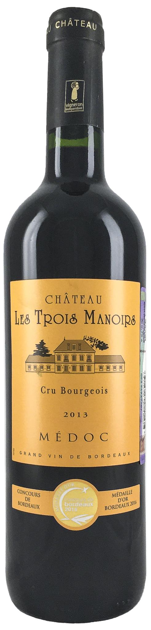 Вино Шато Ле Труа Мануар з.н.м.п. Бордо (AOC Medoc Cru Bourgeois) 2013г крас.сух. 0,75 л. Франция