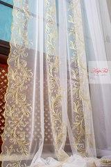 Длинные шторы. Тюль Belle-T французская сетка (золото)
