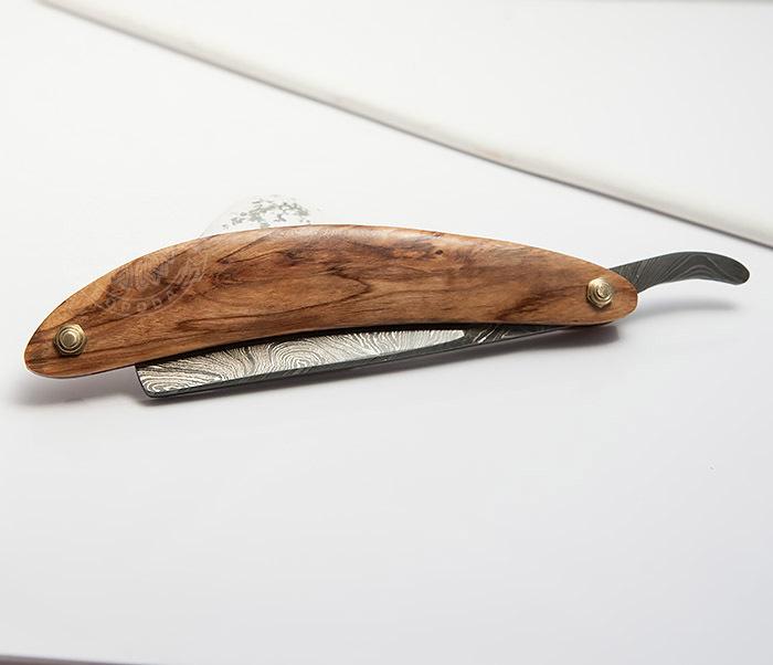 RAZ282 Опаска с лезвием из дамасской стали с деревянной рукояткой фото 05