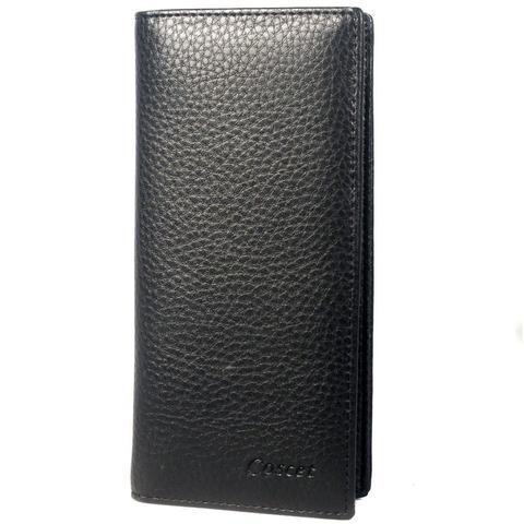 Недорогое качественное портмоне вертикальное чёрное мужское из искусственной кожи заводского производства Coscet B405-19A