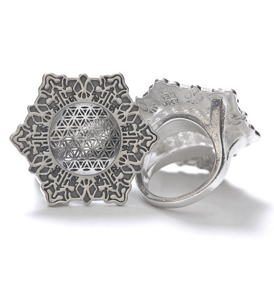 Flower of Life Ring 35 mm, sterling silver