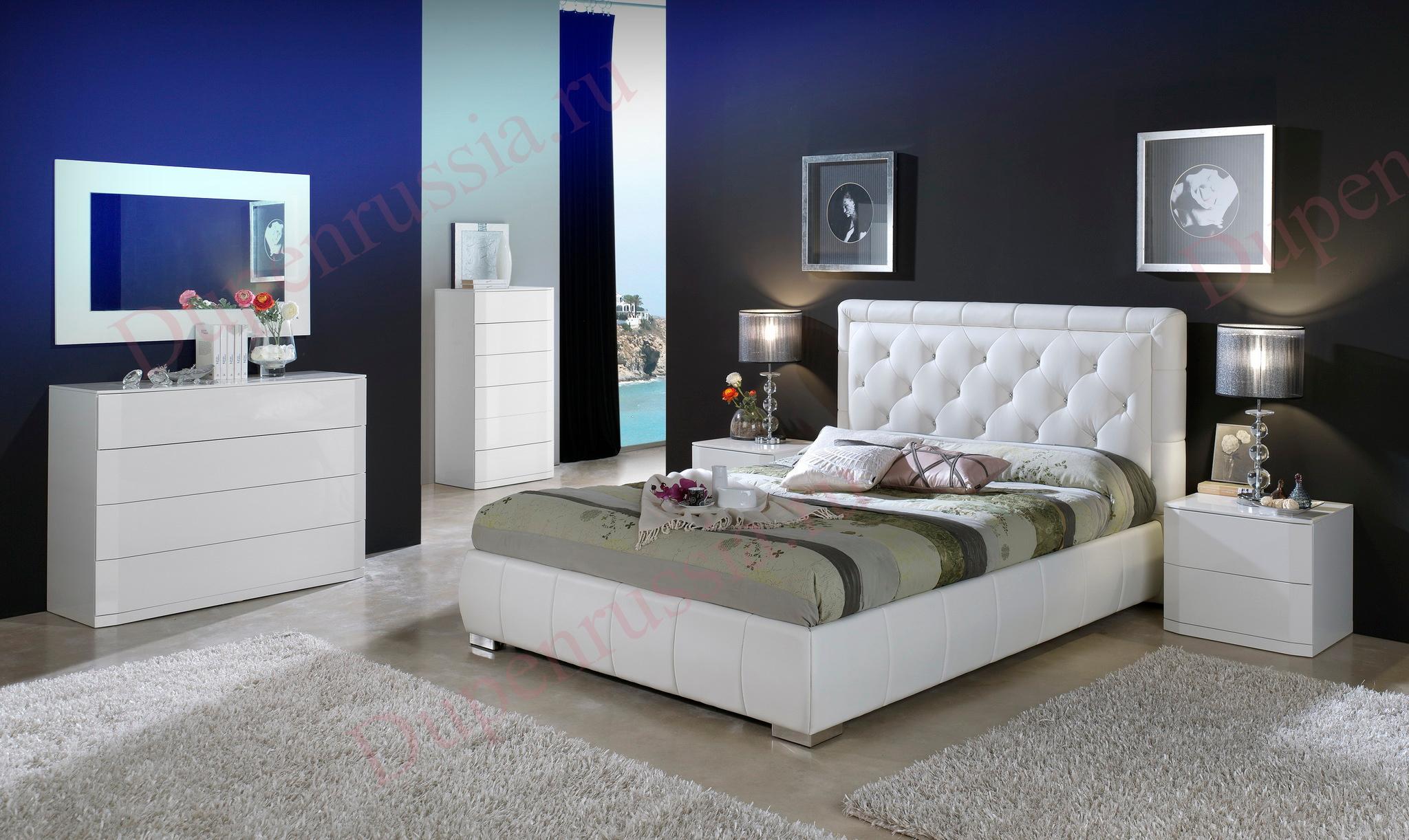 Кровать DUPEN 661 CINDERELLA, Комод горизонтальный С-102; Комод вертикальный S-102; Тумбочка М-102; Зеркало Е-96