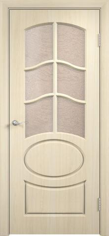 Дверь Сибирь Профиль Неаполь, цвет беленый дуб, остекленная