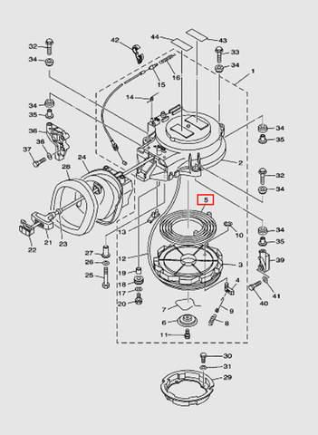 Большая пружина стартера для лодочного мотора T40 Sea-PRO (7-5)