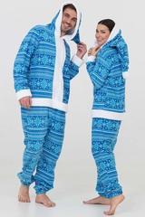 """Пижама-кигуруми Футужама """"Санта"""" голубой со снежинками"""