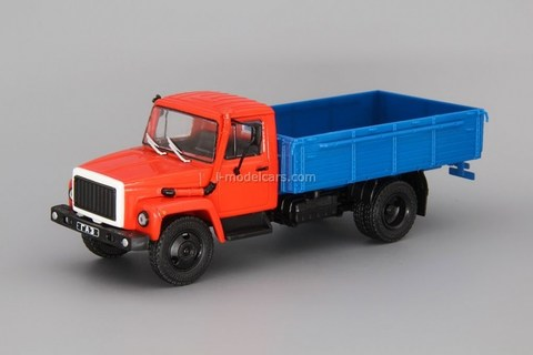 GAZ-3309 flatbed truck red-blue 1:43 DeAgostini Auto Legends USSR Trucks #21