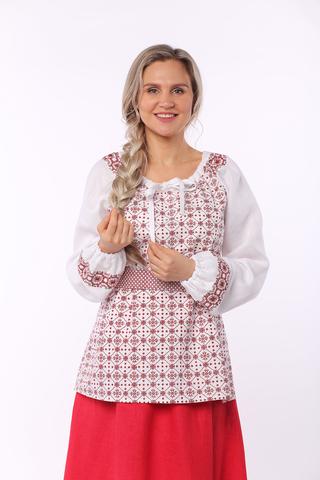 Блуза льняная Макошь на белом вид приближенный фрагмент