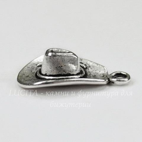 """Подвеска """"Ковбойская шляпа"""" 21х13 мм (цвет - античное серебро)"""