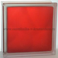 Стеклоблок матовый красный Vitrablok 19x19x8 окрашенный изнутри