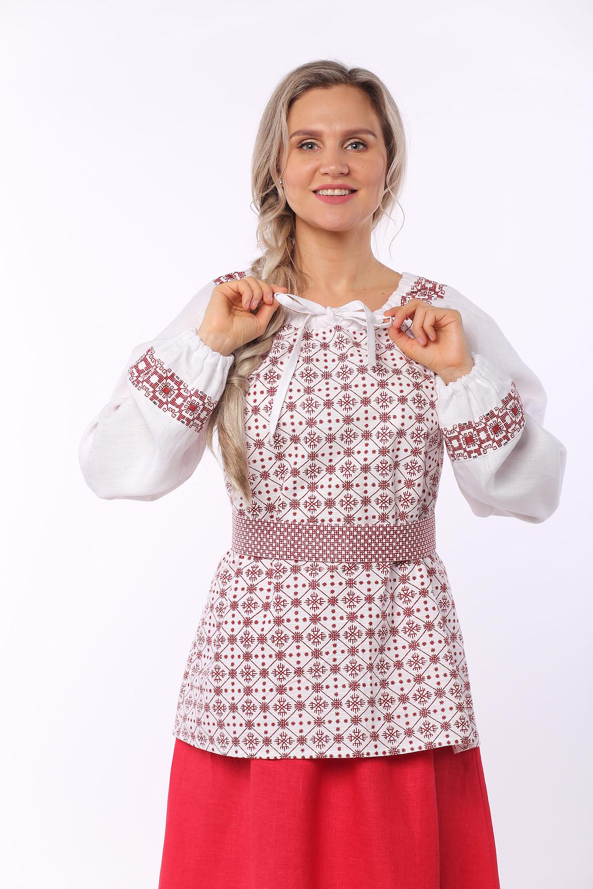Блуза льняная Макошь на белом вид увеличенный фрагмент