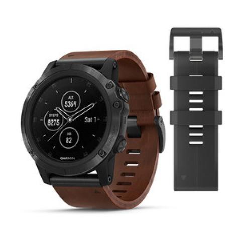 Купить Мужские мультиспортивные часы Garmin Fenix 5X Plus Sapphire - серый с коричневым кожаным ремешком 010-01989-03 по доступной цене
