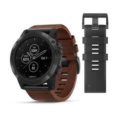 Мужские мультиспортивные часы Garmin Fenix 5X Plus Sapphire - серый с коричневым кожаным ремешком 010-01989-03