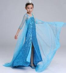 Блестящее платье Эльзы с пайетками и длинным шлейфом